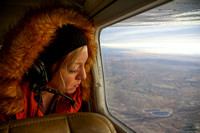 Amber Parnow looks out the window at oil and gas development in Utah